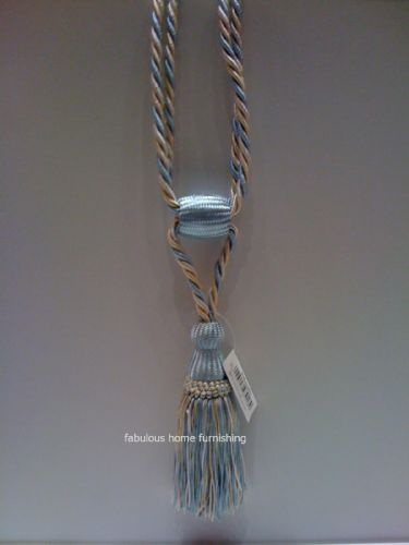 DUCK EGG BLUE TASSELED ROPE CURTAIN TIEBACKS FRINGED
